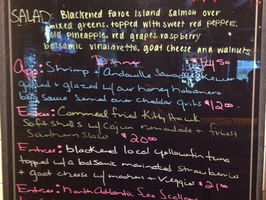 Dinner Specials Tues 5/22/18