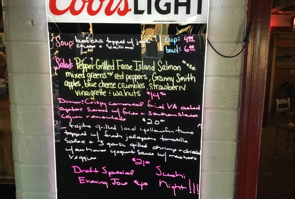Dinner Specials Sushi Night 1/8/2020