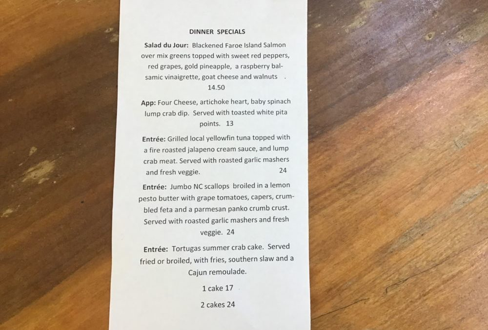 Dinner Specials 6/29/2020