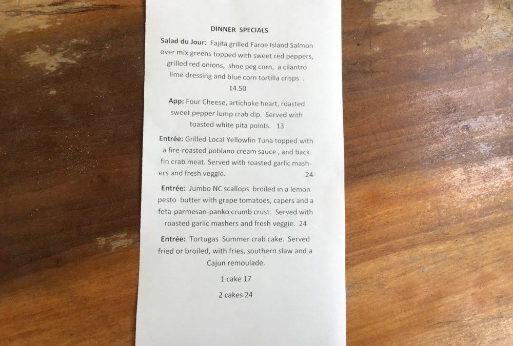 Dinner Specials 8/6/2020