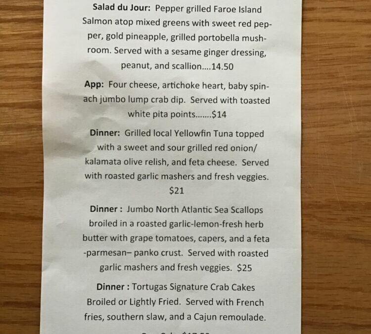 9/21 Dinner Specials