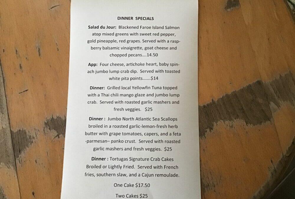 Dinner Specials 9/19/2020