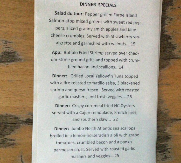 Monday Dinner Specials